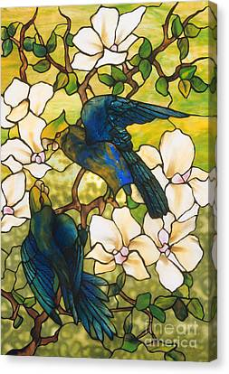 Parrots Canvas Print - Hibiscus And Parrots by Louis Comfort Tiffany