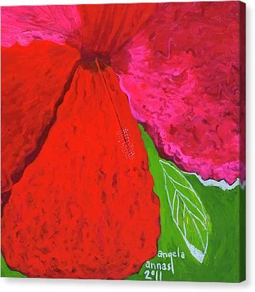 Hibiscus Closeup Canvas Print by Angela Annas
