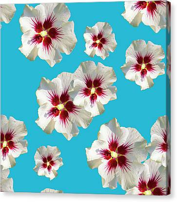 Canvas Print featuring the mixed media Hibiscus Flower Pattern by Christina Rollo