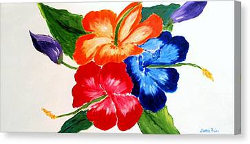 Canvas Print featuring the painting Hibiscus by Jamie Frier