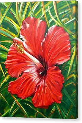 Hibiscus Canvas Print by JoAnn Wheeler