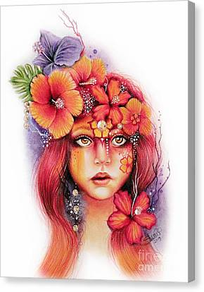 Canvas Print featuring the drawing Hibiscus by Sheena Pike