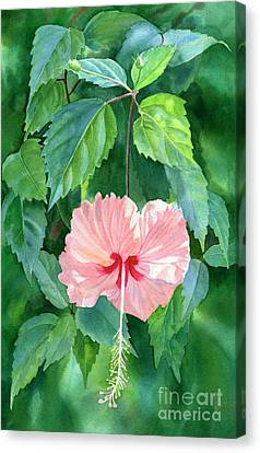 Hibiscus Sprinkle Rain With Leafy Background Canvas Print by Sharon Freeman