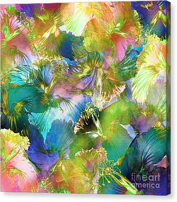Canvas Print featuring the digital art Hibiscus Trumpets by Klara Acel