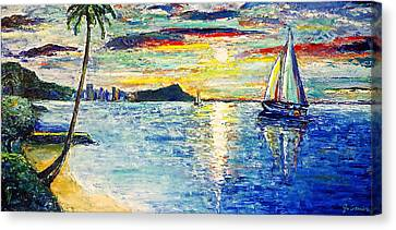 Diamond Head Canvas Print - Hickam Beach Sunrise by Jo Gerrior