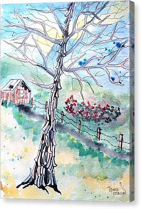 Canvas Print featuring the painting Hickory by Denise Tomasura