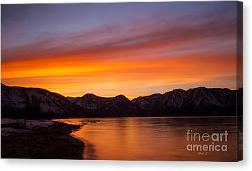 Hidden Beach Sunset Canvas Print by Mitch Shindelbower