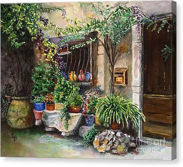 Hidden Courtyard Canvas Print by Karen Fleschler