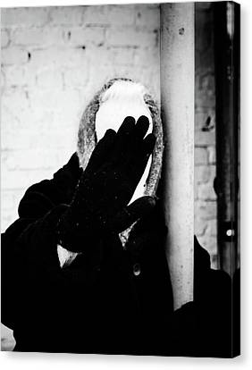 Canvas Print featuring the photograph Hidden Woman In Black Fur by John Williams