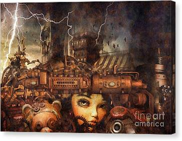 Canvas Print featuring the drawing Hide And Seek by Mo T