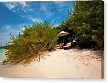 Hideaway. Maldivian Beach Canvas Print by Jenny Rainbow