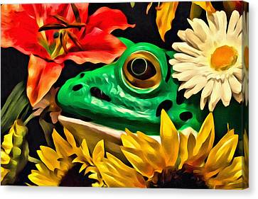 Hiding Frog Canvas Print