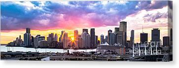 Hiding The Light Panoramic Miami Canvas Print