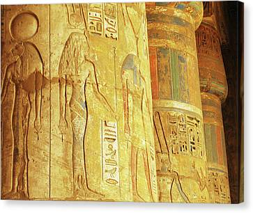 Hieroglyphics, Carvings And Drawings On The Walls And Column Of Temple Of Habu At Luxor, Egypt, 2 Canvas Print