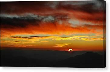 Canvas Print featuring the photograph High Altitude Fiery Sunset by Joe Bonita