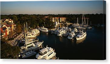 High Angle View Of Yachts Moored Canvas Print by Panoramic Images