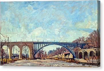 High Bridge Winter Light Nyc Canvas Print by Thor Wickstrom