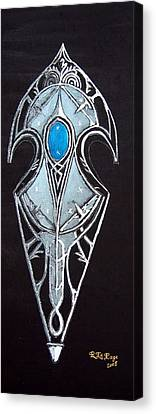 Canvas Print featuring the painting High Elven Warrior Shield  by Richard Le Page