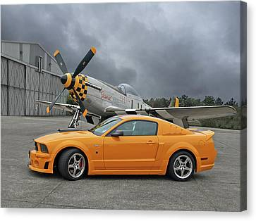 High Flyers - Mustang And P51 Canvas Print by Gill Billington
