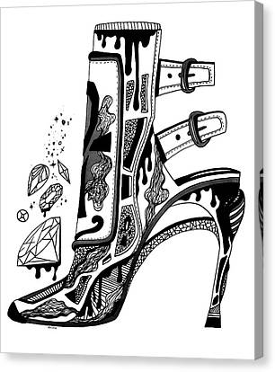 High Heels And Diamonds Canvas Print by Kenal Louis