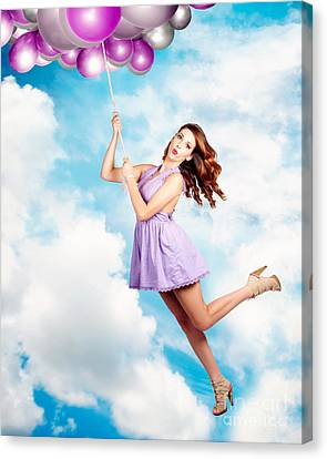 Floating Girl Canvas Print - High In The Sky Birthday Party Celebration by Jorgo Photography - Wall Art Gallery