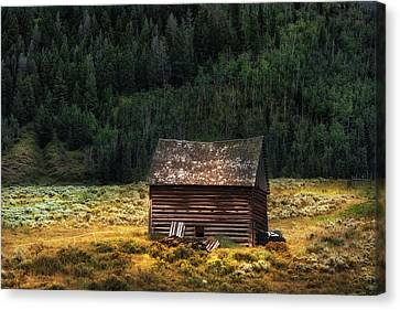 Log Cabin Art Canvas Print - High Lonesome - Colorado Barn by Expressive Landscapes Fine Art Photography by Thom