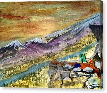 High Mountain Camping - Enhanced Coloring Canvas Print by Scott D Van Osdol
