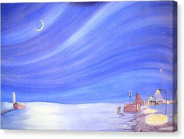Canvas Print featuring the painting High Plains Nightscape by Scott Kirby