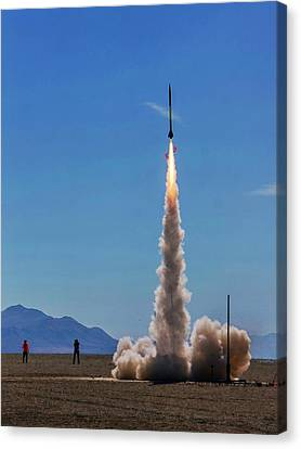 Canvas Print featuring the photograph High Power Rocket Certification Flight by Peter Thoeny