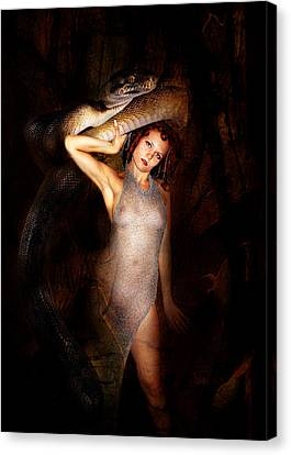 High Priest And Her Snake Canvas Print by Sandy Viktor Nys