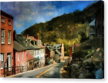 Lamp Post Canvas Print - High Street In The Early Evening by Lois Bryan