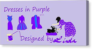 High Style Fashion, Dresses In Purple Canvas Print