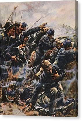Battle Of Gettysburg Canvas Print - High Tide At Gettysburg by American School