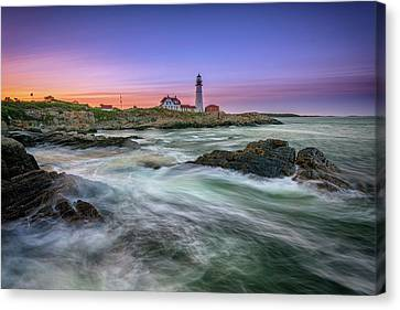 Canvas Print featuring the photograph High Tide At Portland Head Lighthouse by Rick Berk