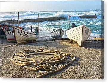 Sennen Cove Canvas Print - High Tide In Sennen Cove Cornwall by Terri Waters