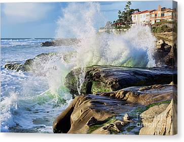 Canvas Print featuring the photograph High Tide On The Rocks by Eddie Yerkish