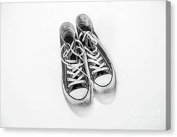 High Tops In Snow Black And White Canvas Print by Randy Steele