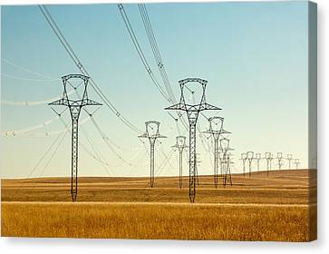 High Voltage Power Lines Canvas Print by Todd Klassy
