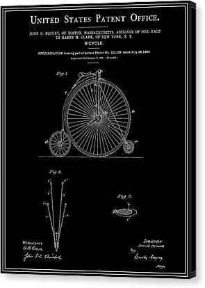 High Wheel Bicycle Patent - Black Canvas Print