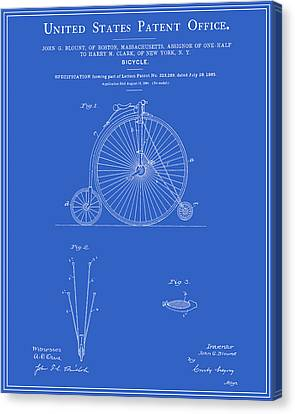 High Wheel Bicycle Patent - Blueprint Canvas Print