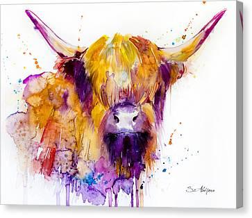 Highland Cow Canvas Print by Slavi Aladjova