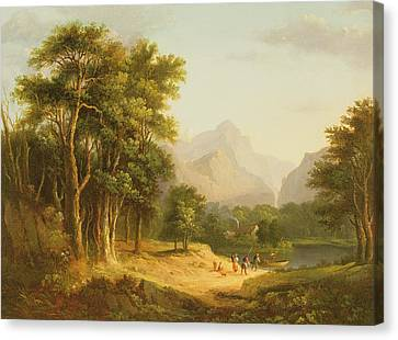 Highland Landscape With Figures Canvas Print