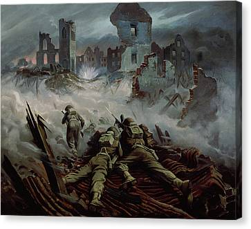 Highlanders Advancing To Caen Canvas Print by Orville Norman Fisher