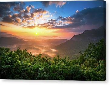 Highlands Sunrise - Whitesides Mountain In Highlands Nc Canvas Print by Dave Allen