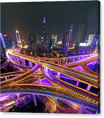 Highway Intersection In Shanghai Canvas Print