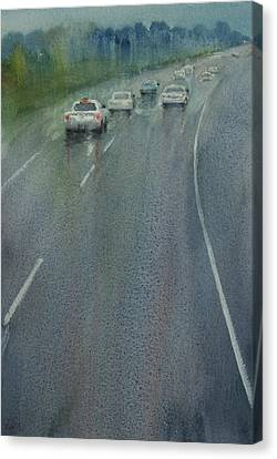 Canvas Print featuring the painting Highway On The Rain02 by Helal Uddin
