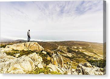 Hiker Man On Top Of A Mountain Canvas Print