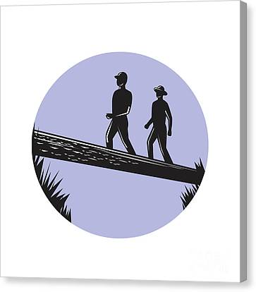 Hikers Crossing Single Log Bridge Oval Woodcut Canvas Print by Aloysius Patrimonio