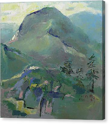 Pallet Knife Canvas Print - Hiking by Becky Kim