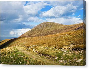 Canvas Print featuring the photograph Hiking Trail Across The Mountain Range In County Kerry by Semmick Photo